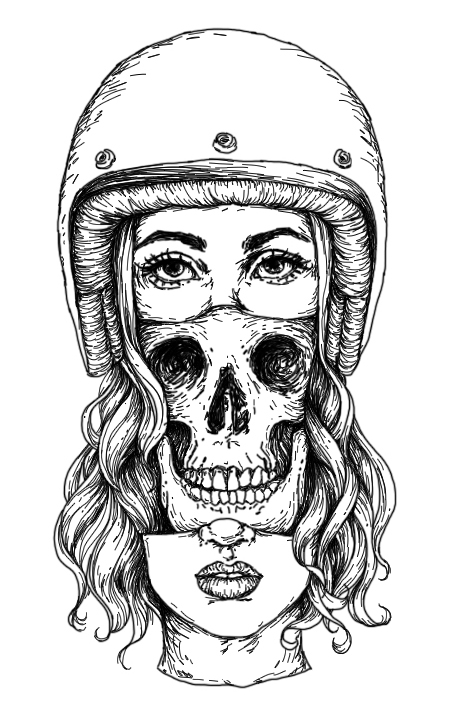 Skull Face Girl linewebsite